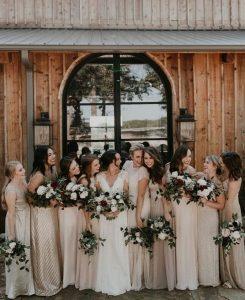 neutral colors mismatched bridesmaid dresses