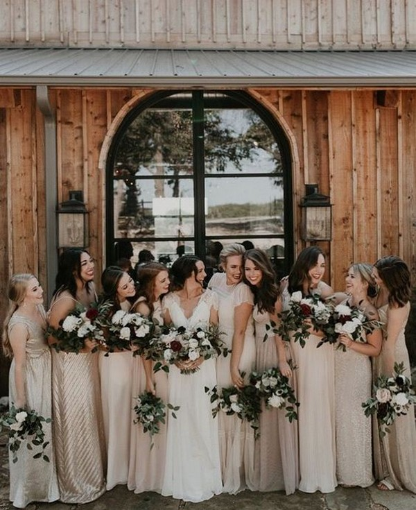 neutral colors mismatched bridesmaid dresses