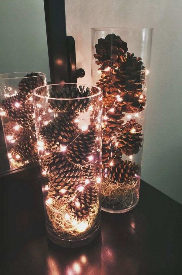 pine cones and lights winter wedding decorations