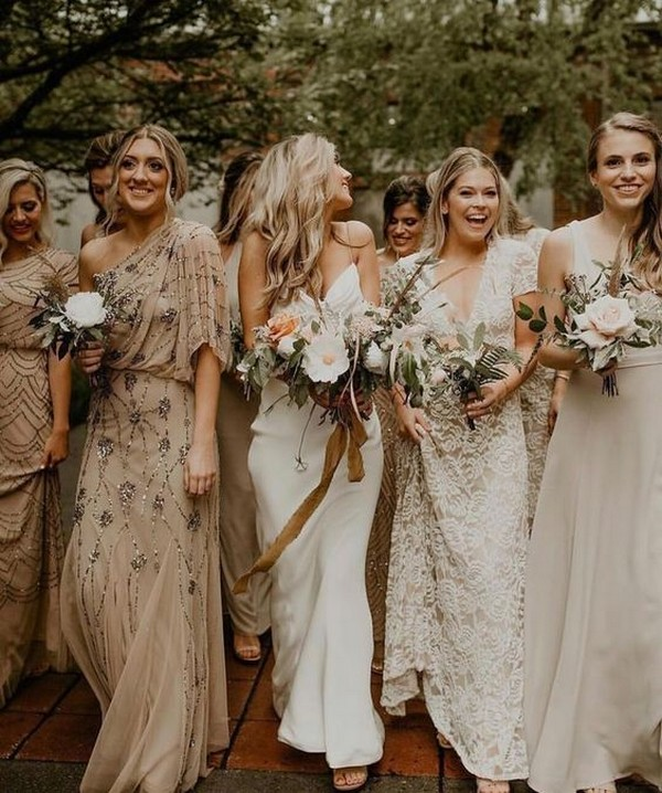 pretty mismatched neutral bridesmaid dresses