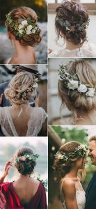 pretty updo wedding hairstyles with flowers
