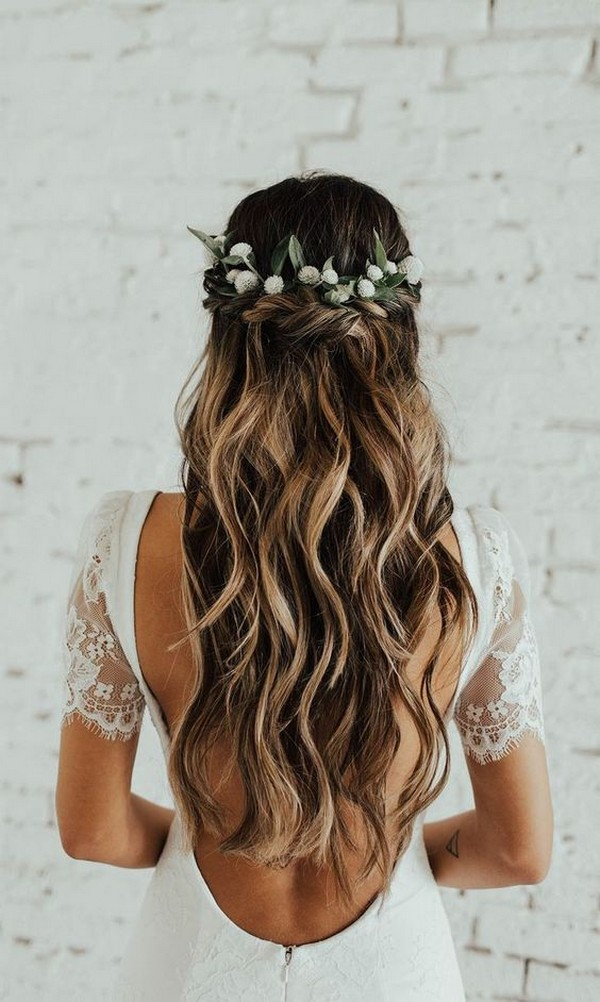 romantic half up half down wedding hairstyles