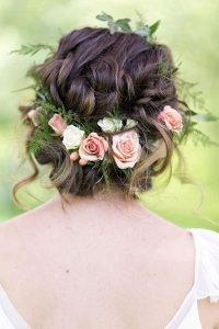 romantic updo wedding hairstyle with flowers