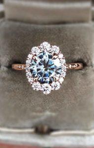 rose gold diamond vintage engagement ring