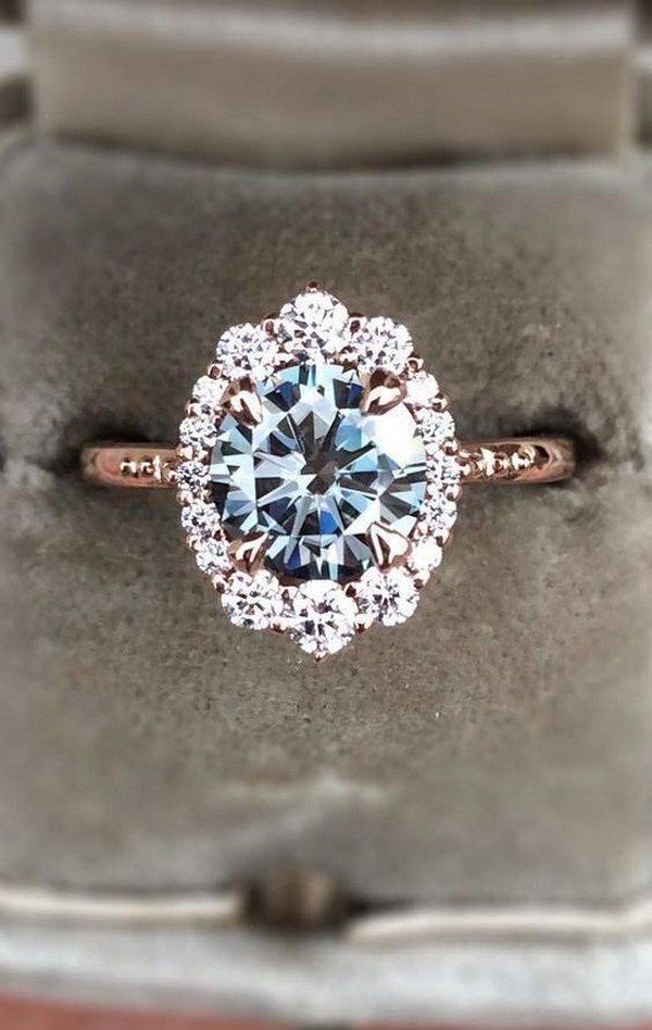 rose gold diamond vintage engagement ring