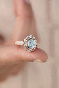 rose gold halo vintage engagement ring