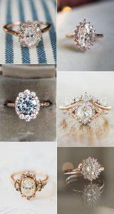 rose gold vintage diamond wedding engagement rings