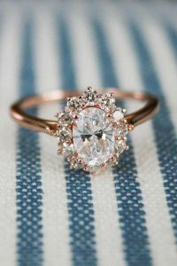rose gold vintage oval engagement ring