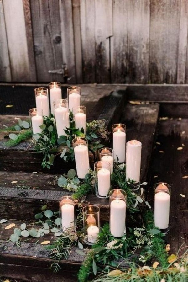 rustic wedding decoration ideas with candles