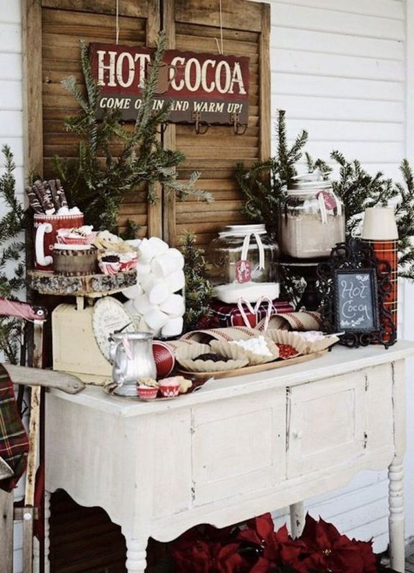 rustic wedding reception hot chocolate bar