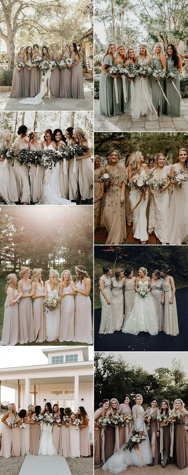 stunning neutral colors bridesmaid dresses