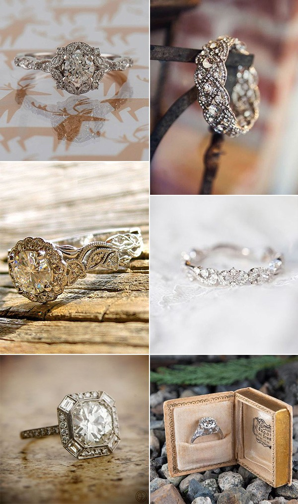 stunning vintage diamond wedding engagement rings