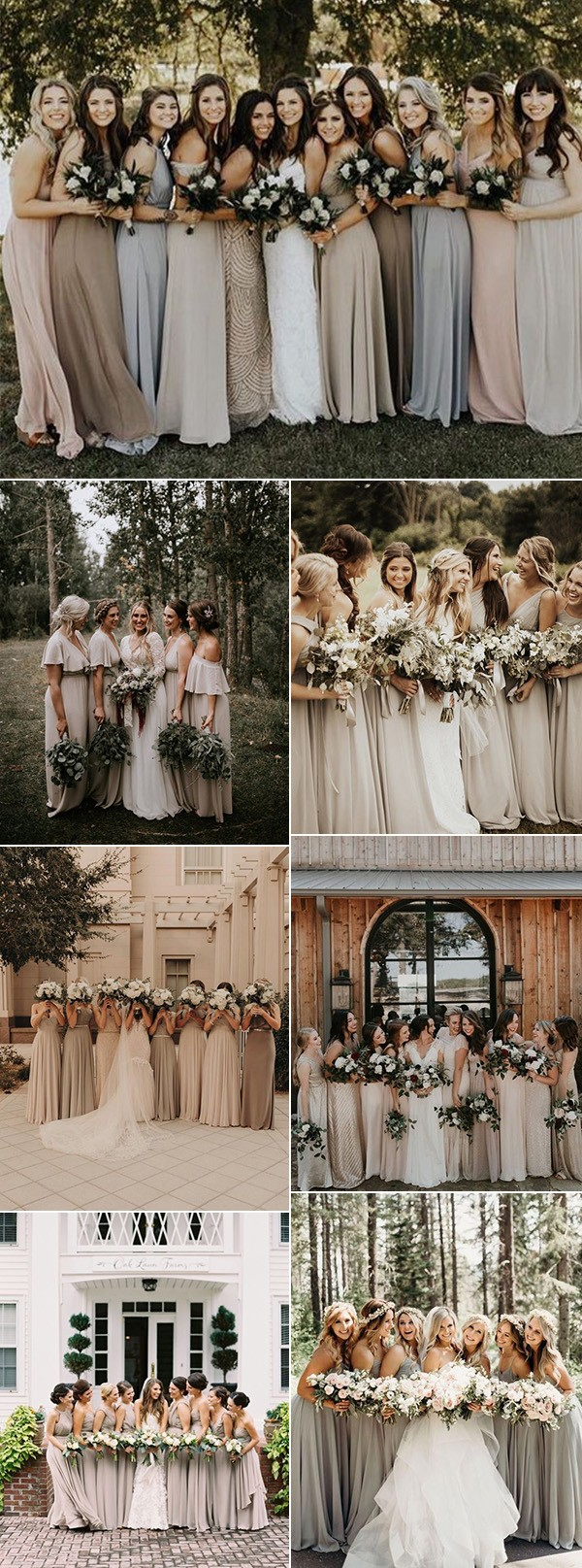 trending neutral colors bridesmaid dresses