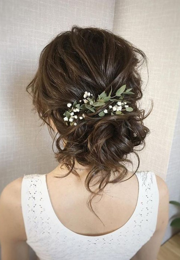 updo wedding hairstyle ideas with greenery
