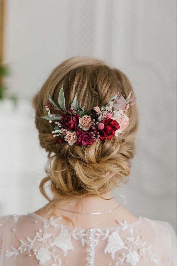 updo wedding hairstyle with fall floral