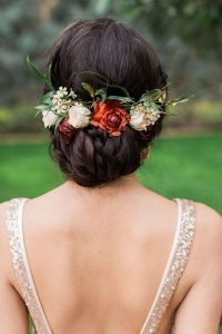 updo wedding hairstyle with floral