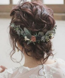 updo wedding hairstyle with flowers for fall
