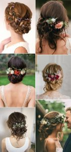 updos fall wedding hairstyles with flowers