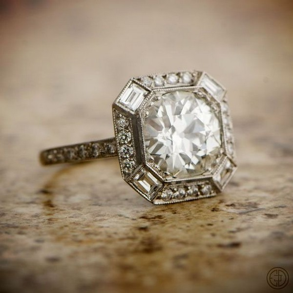 vintage asscher cut diamond engagement ring