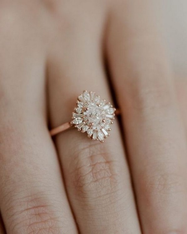 vintage diamond rose gold engagement ring