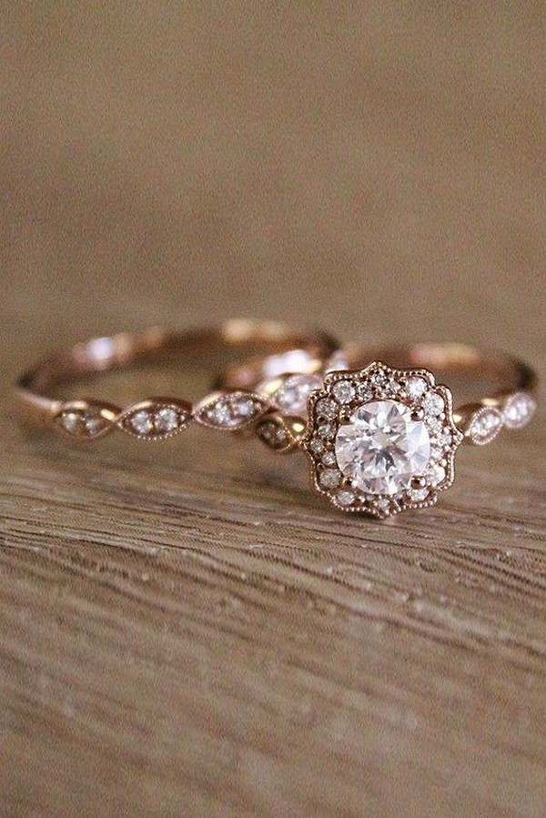 vintage engagement ring with wedding band