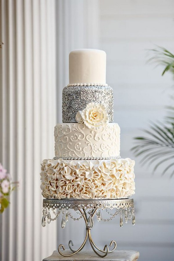 vintage ivory and silver wedding cake