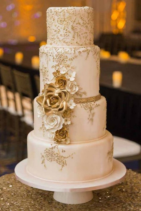 vintage metallic gold wedding cake