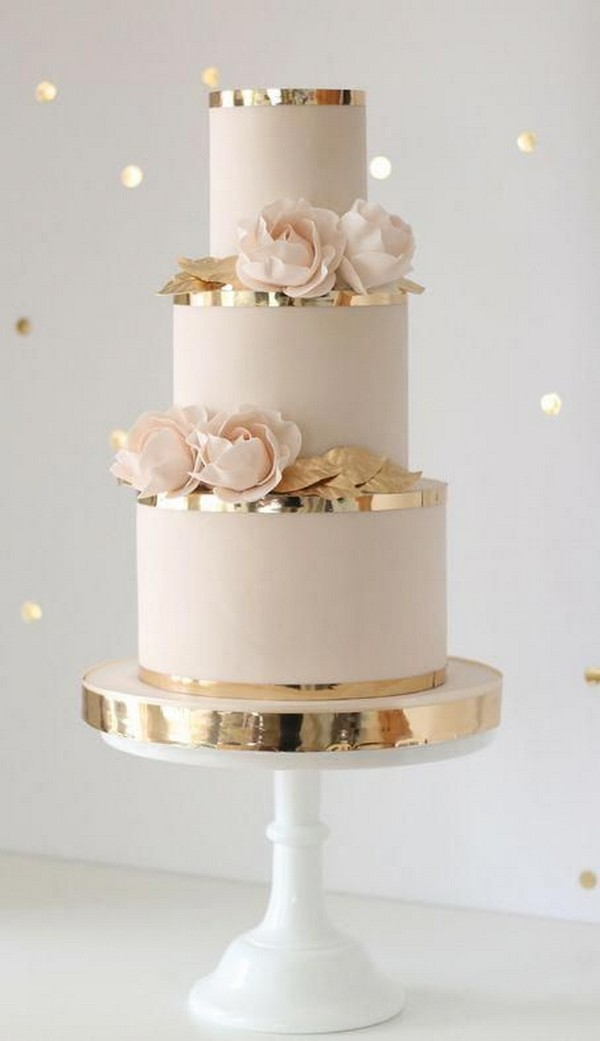 vintage pink and gold wedding cake ideas
