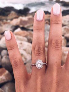 vintage rose gold halo diamonds engagement ring