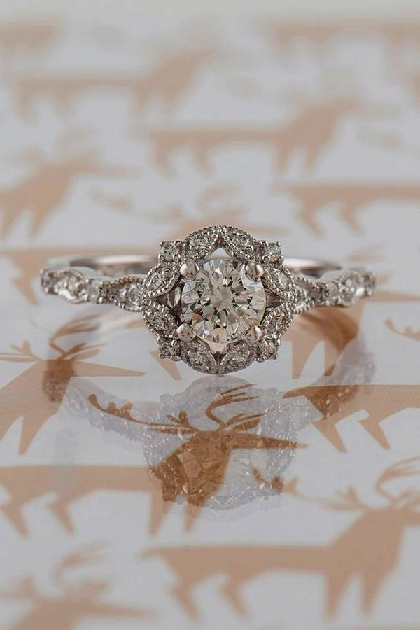 vintage round cut engagement ring
