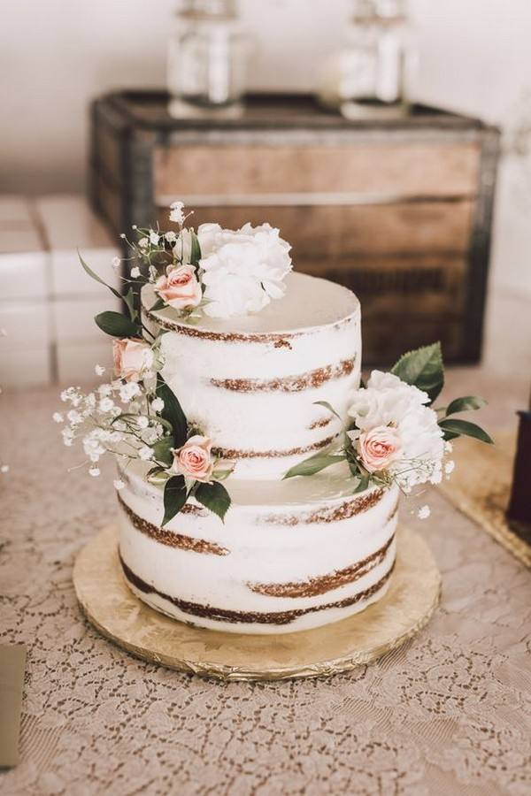 vintage rustic semi naked wedding cake