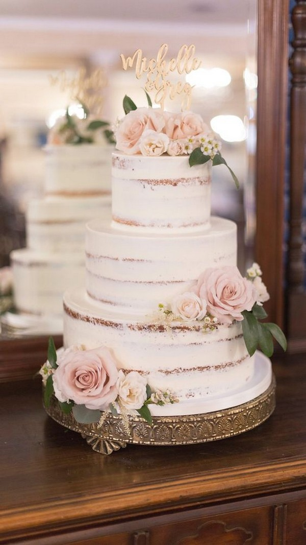 vintage semi naked wedding cake with pink roses