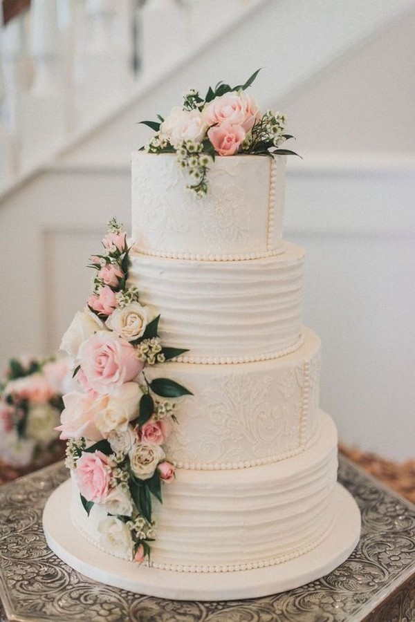 vintage wedding cake with floral and pearls