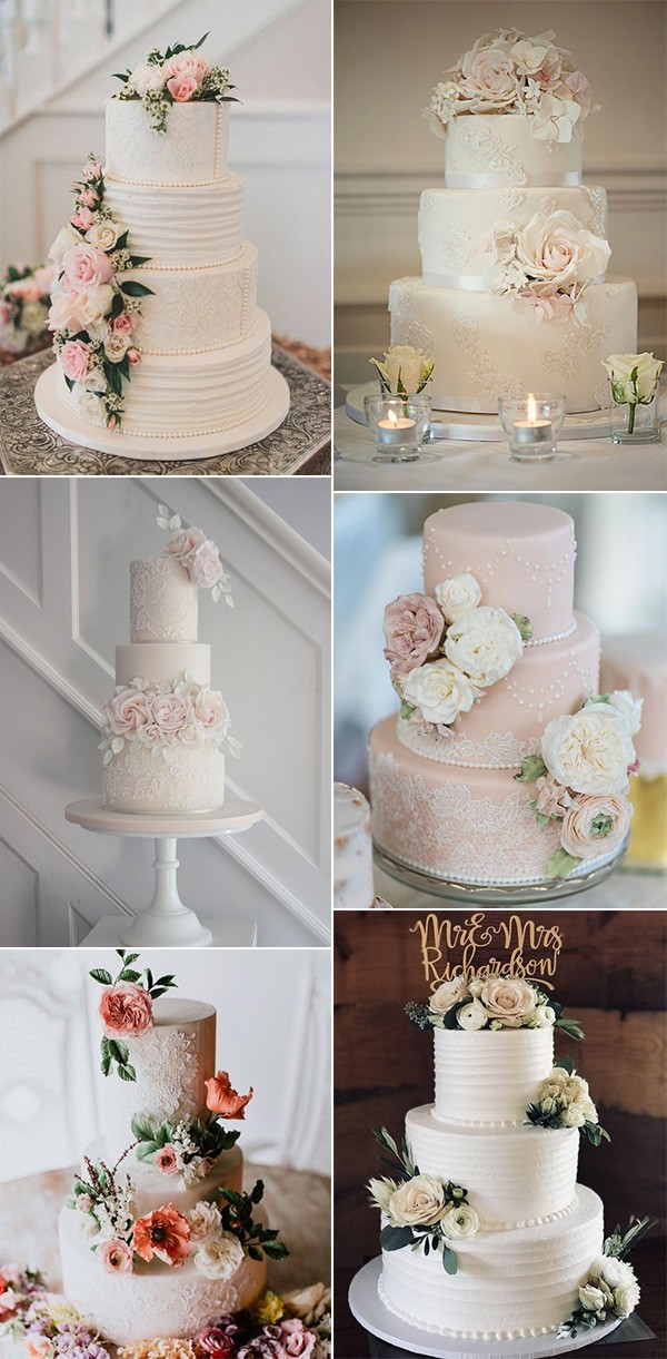 vintage wedding cakes with pearls and lace