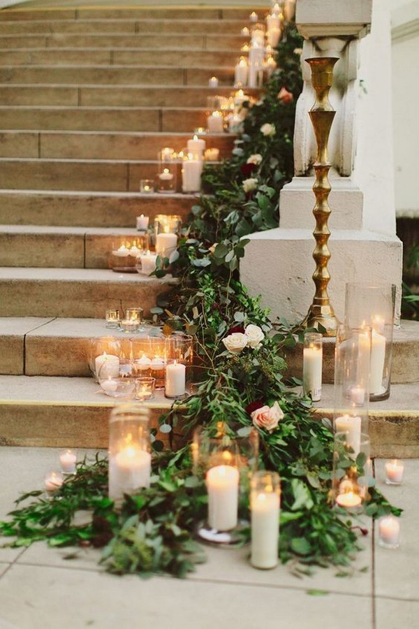 wedding decoration ideas with candles and garlands