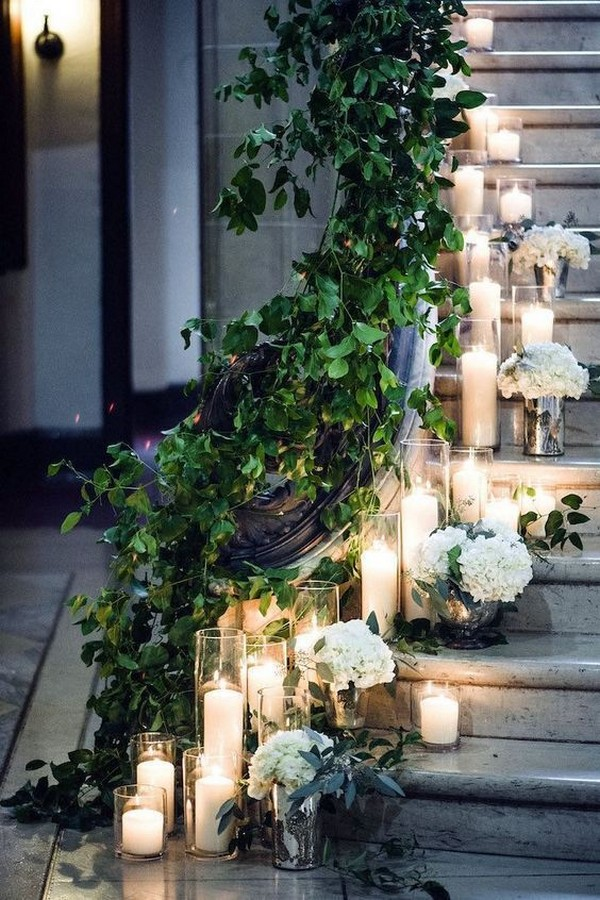 wedding decoration ideas with floating candles and garlands