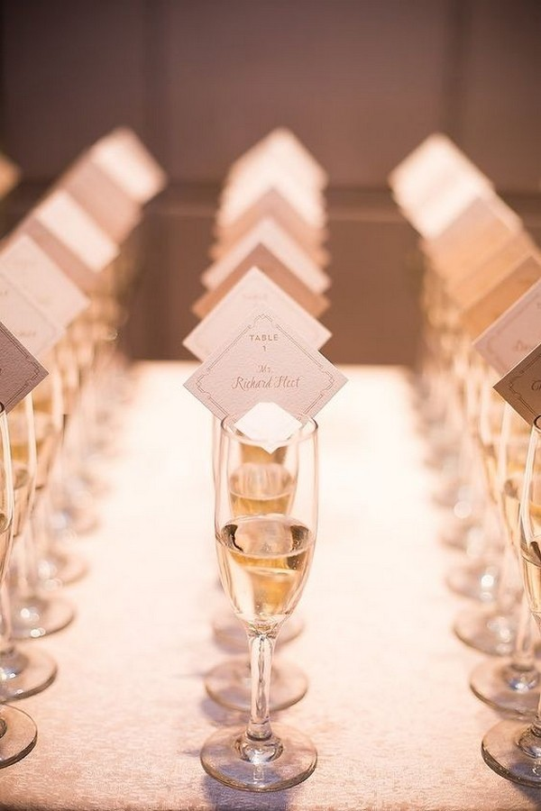 wedding escort card ideas with champagnes
