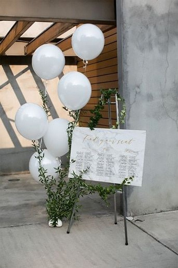 wedding seating chart sign ideas with balloons