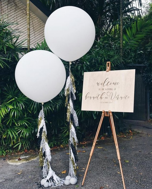 wedding welcome sign ideas with balloons