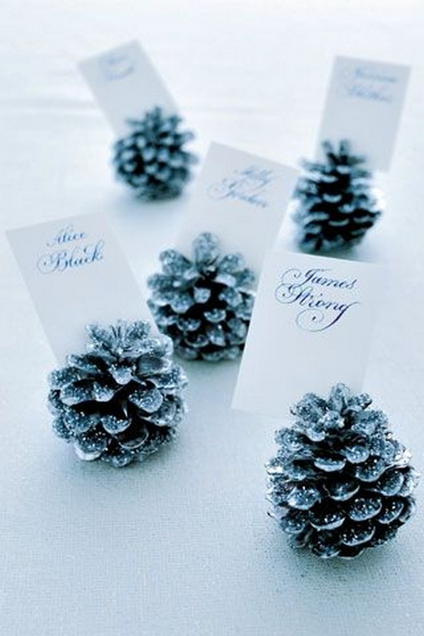 winter diy wedding place cards with pine cones