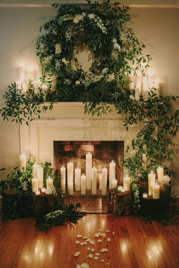 winter wedding decoration ideas with greenery and candles