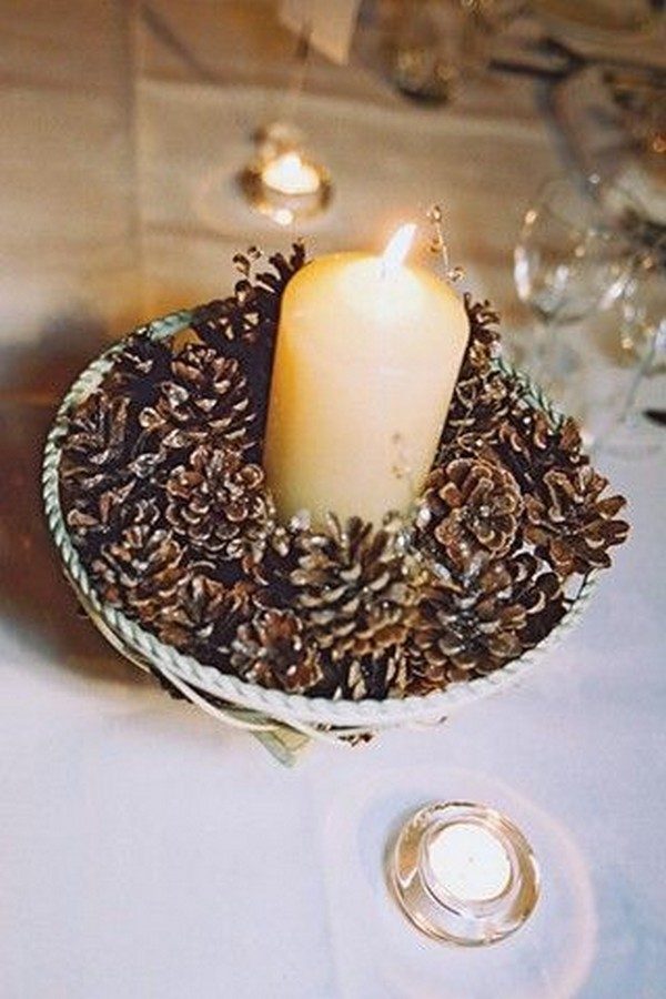 winter wedding decoration ideas with pine cones