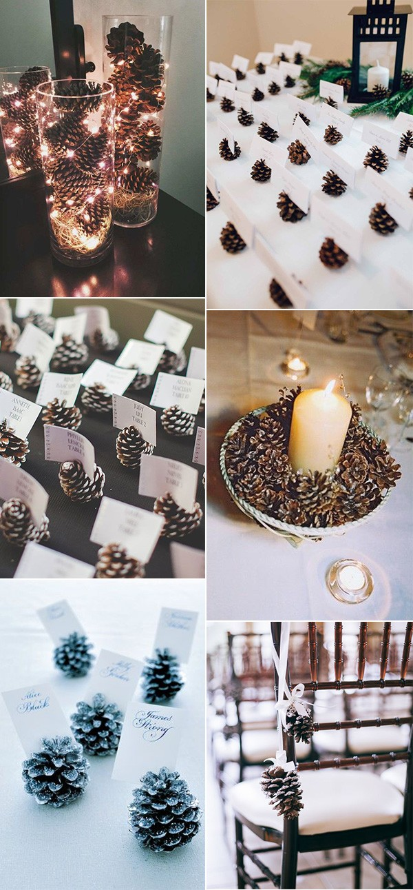 winter wedding decorations with pine cones