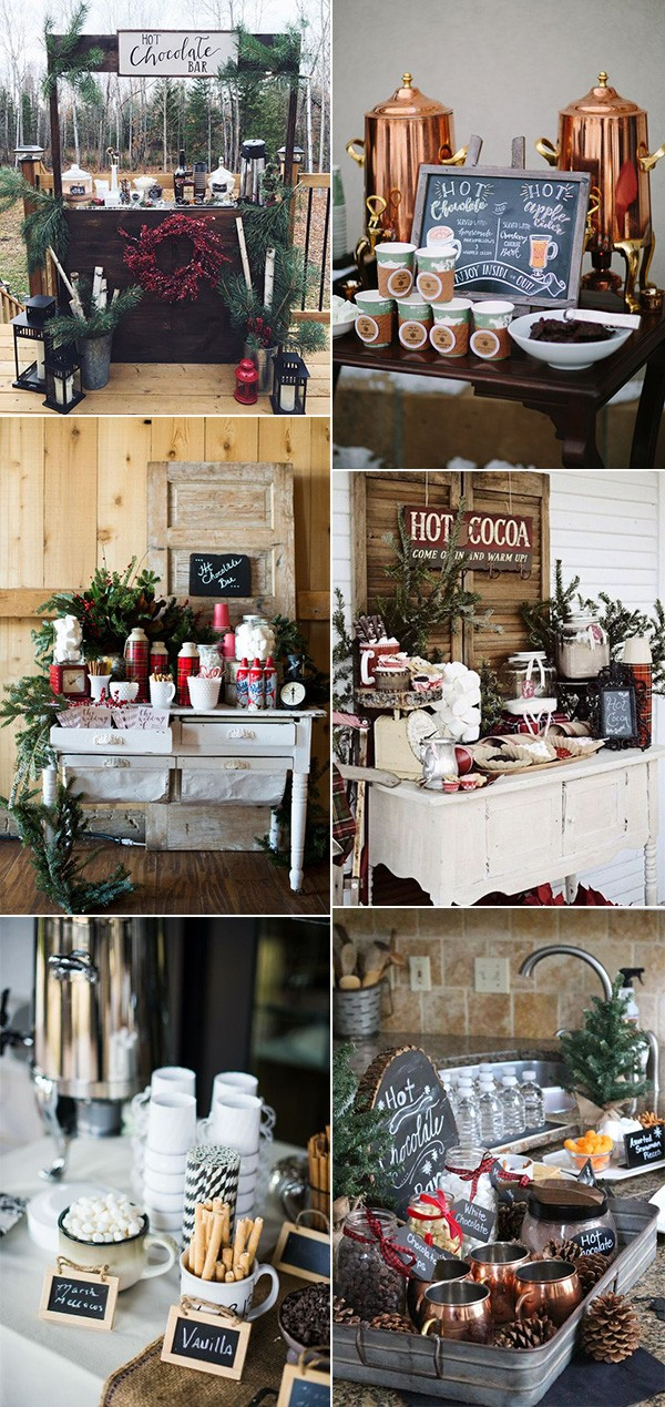 winter wedding hot chocolate bar reception ideas