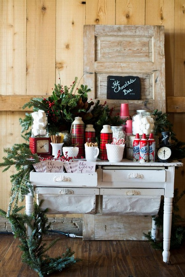 winter wedding reception ideas hot chocolate bar