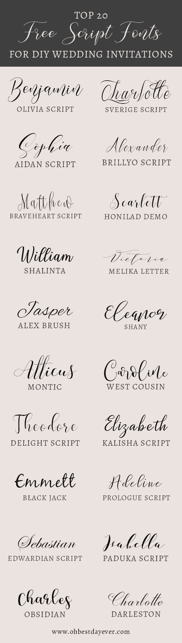 20 free script fonts for diy wedding invitations