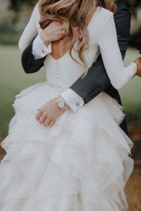 Halfpenny London ruffled wedding dress with long sleeves