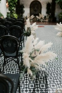 Pampas grass wedding ceremony aisle decoration ideas