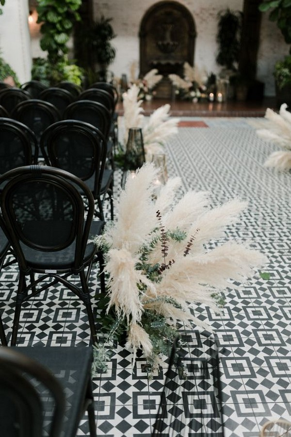 Pampas grass wedding ceremony aisle decoration ideas