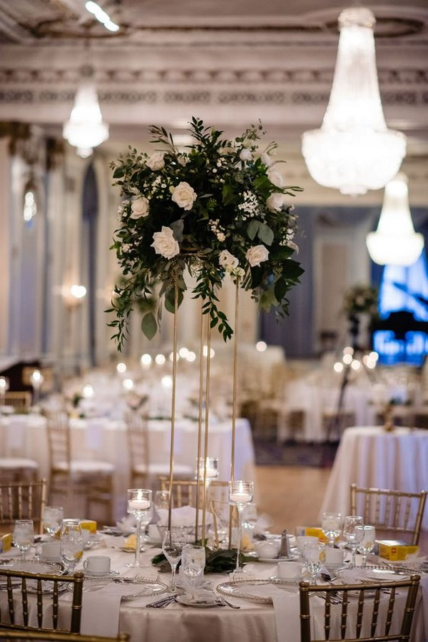 Tall wedding centerpieces on gold harlow stands
